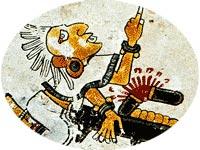 Codex Borgia: metate with broken rolling pin