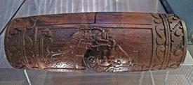 Pic 2: 'Revival' Aztec wooden teponaztli tongue drum, Horniman Museum