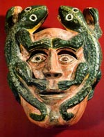 2-lizard mask from Tlacozotitlan, Guerrero