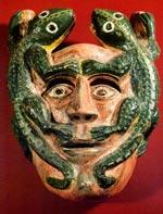 2-lizard mask from Tlacozotitlan, Guerrero