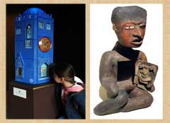 Finding an animal companion spirit: at the Story Museum, Oxford (L) and in an ancient ceramic 'host figure' from Teotihuacán, Mexico (R)
