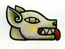 Pic 2: Dog - number 10 in the cycle of 20 Aztec 'day' signs