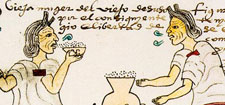 Elderly woman swigging pulque (Codex Mendoza - original in the Bodleian Libary, Oxford)