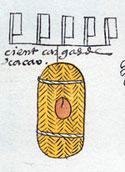 100 loads of cocoa beans: a small part of the annual tribute from the province of Soconusco; Codex Mendoza folio 47 (detail)
