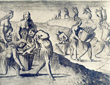 'Natives carrying cocoa, fruits and other produce, as tribute' - from  De Bry's 'History of America', Frankfurt, c. 1600 CE