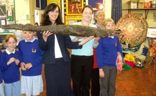 Sarah Buchan (Deputy Head, holding Bridget) and friends at Bridge & Patrixbourne Primary School