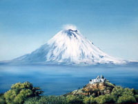 Oil painting by Martin Stopher of 'Popocatépetl from Cholula' reproduced by kind permission of Martin Stopher