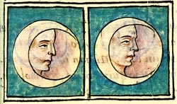 Florentine Codex image of two moons, from the Aztec legend