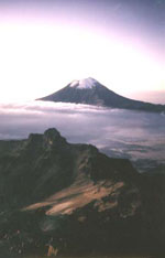Painting of Popocatepetl from Ixtla at dawn, by and with kind permission of Richard Ferguson