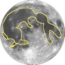 Image of Aztec rabbit in moon with the kind permission of Jim Mikoda, Adler Planetarium and Astronomy Museum