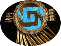 A Mixtec gold and turquoise 'chimalli' war symbol