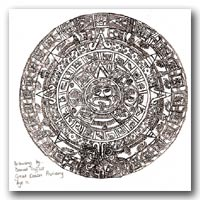 Daniel Triffitt's drawing of the Aztec Sunstone