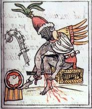 Pic 5: The legendary priest, Ce Acatl Topilltzin Quetzalcoatl in a blood-letting ceremony. Florentine Codex Book 3