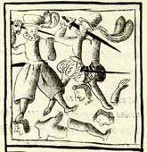 Pic 6: The massacre of Toxcatl; Florentine Codex Book XII