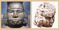 Pic 6: Stone sculpture of Coyolxauhqui, National Museum of Anthropology (L); aspect of the sculpture from above - drawing by Alfredo Chavero (R)