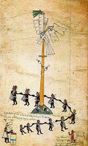 A well-known scene from the festival of Xocotl huetzi; Codex Borbonicus, fol. 28