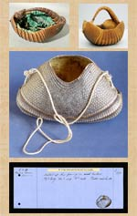 Pic 6: Examples of armadillo shell baskets (top L: Brighton Museum); top R: source unknown; centre and bottom: British Museum collections