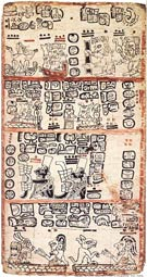 Pic 8: An armadillo on a reed mat facing the Maya Young Earth Goddess (lower section); Codex Madrid, page 92