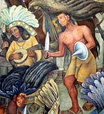 Pic 3: A 'conchera' dancer/player depicted in a mural by Diego Rivera on the history of Mexico, Palacio Nacional, Mexico City