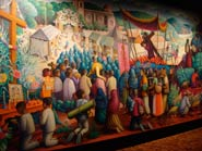 Pic 5: Mural 'El pedimento o manda', Santa Catarina Juquila, Oaxaca, by Arturo Estrada, National Museum of Anthropology, Mexico City; note the presence of imported European brass instruments, centre