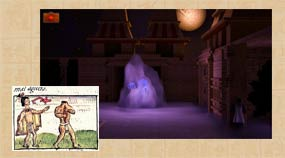 3D screenshot: facing an entity recorded in the Florentine Codex; the insert (from Book V of the Codex) is a good example of a historical reference being adapted for the game