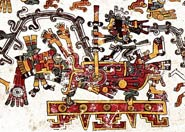 Pic 5: Drilling new fire on the chest of Xiuhtecuhtli, god of terrestrial fire; Codex Borgia, pl. 46 (detail)