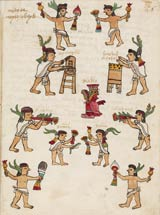 Pic 2: Mexica musicians - from sacred drums to trumpets - in action; Codex Tudela fol. 66r