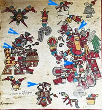 Pic 3: Macuilxóchitl (L) and Huehuecóyotl (R) wear the 'mecatl' plaited cord emblem (arrowed) of Aztec musicians; Codex Borbonicus, p. 4 (detail)