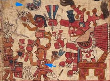 Pic 5: Musicians perform in front of Huehuecóyotl; Tonalamatl de Aubin p. 4. Note a) the teardrop pendant hanging from a 'mecatl' cord from one musician, and b) the 'ayotl' tortoise-shell drum with deer horn beater, top