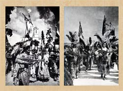 Pic 8: Two photos of Concheros groups taken in the first half of the 20th century: (L) at Los Remedios, near Mexico City (photo Guillermo Jiménez) and (R) in Mexico DF
