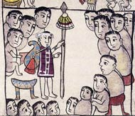 Pic 2: A Tarascan high priest addresses a group of nobles; he carries a large, painted bottle gourd on his back as a symbol of his authority. 'Relación de Michoacán', fol. 41 (detail)