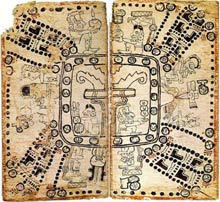 Pic 3: Pages 75-76 of the Madrid Codex, showing the 260-day ritual/divinatory calendar