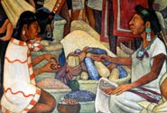 Pic 4: Multi-coloured maize: detail from a mural by Diego Rivera, Palacio Nacional, Mexico City