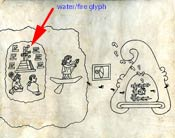 Pic 5: Page 1 of the Codex Boturini, showing (arrowed) the Aztec clan glyph fire/water at Aztlan