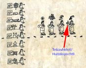 Pic 6: Page 2 of the Codex Boturini showing (arrowed) the Mexitin deity Tetzauhteotl/Aztec deity Huitzilopochtli being carried in a sacred bundle on the journey from Aztlan