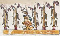 'People of maize'; tending a 'milpa' (traditional plot of land), Codex Vindobonensis, pl. 11 (detail)