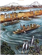 Heading to the (Aztec) market: illustration by Felipe Dávalos