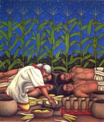 Pic 2: Xmucane created humans out of maize according to the 'Popol Vuh' - illustratiion by Luis Garay