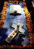 Cempoalxochitl flowers surround Graciela's mum's grave