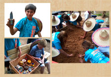 Pupils at Canterbury School, North Carolina (USA) on their own Aztec archaeological 'dig'...