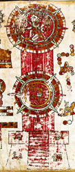 Temalácatl (top) and cuauhxicalli (bottom) ceremonial stones, Codex Vindobonensis