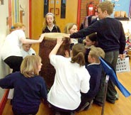 Searching for clues on an Aztec drum!