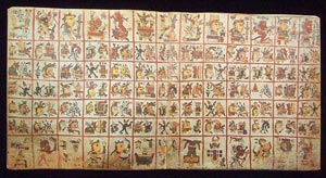 Picture 6: One of the 4 double-page sacred calendar sections of the Codex Cospi, showing 65 days in 5 rows of 13; top and bottom are more associations for each column of days!