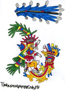 Picture 7: Tlahuizcalpantecuhtli, illustration by Phillip Mursell based on the image in the Codex Borbonicus (see Pic 10)