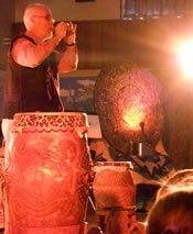 Pic 2: Ian demonstrating Aztec instruments at Copthorne Primary School, Sussex