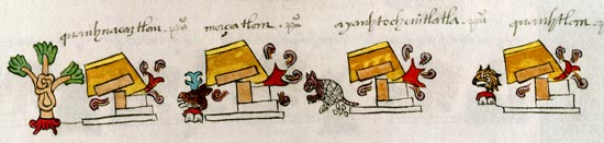 Pic 4: part of folio 13v of the Codex Mendoza (original in the Bodleian Library)