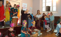 The Unitarian Church reverberated with chanting and drums!