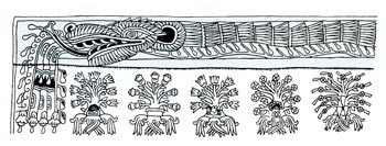 Pic 10: Karl Taube's drawing of the life-giving plumed serpent that features in the mural of Techinantitla, Teotihuacán