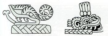 Pic 11: Karl Taube's drawing of plumed serpents on top of petates, Teotihuacán