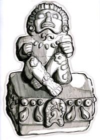 Pic 3: Xochipilli - original illustration by Phillip Mursell